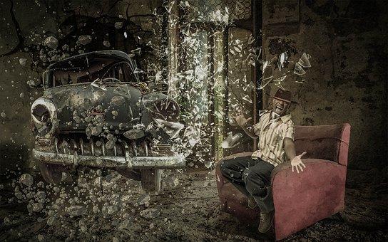 Fantasy, Room, Old, Chair, Auto, Destruction, Man, Fear