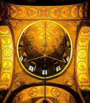 Kiev, Ukraine, Frescoes, Gold, Monk, Priest