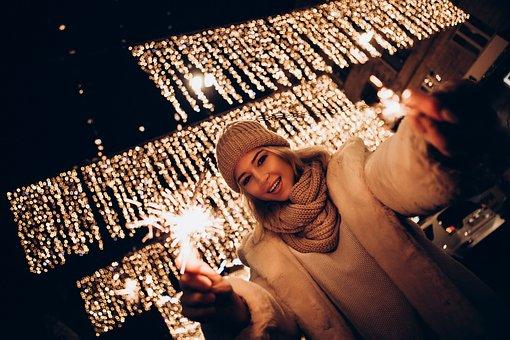 Winter, City, Citylights, Lights, Girl, Christmas