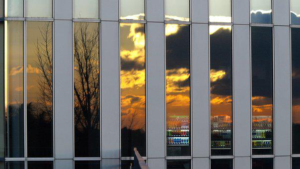 Building, Lattice, Glass, Reflection, Sunset, At Dusk