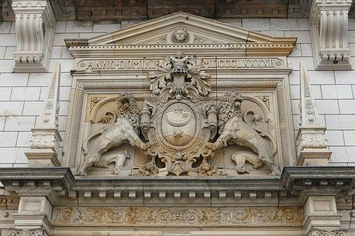 Coat Of Arms, Lion, Moon, Star, Heraldry, Hall, Saale