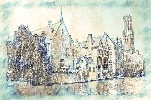 Belfry, Tower, Bruges, Canal, Channel, Historic Center