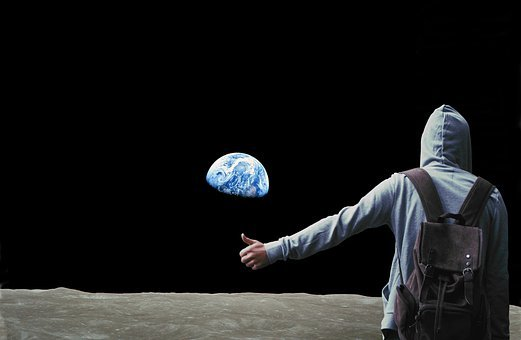Hitchhiker, Wanderer, Hitchhiking, Travel, Space, Moon