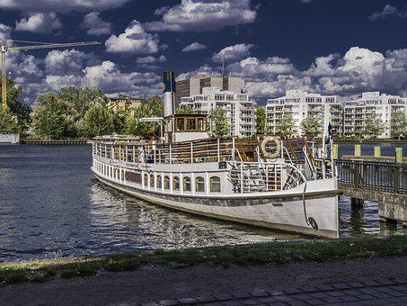 Ship, White, Clouds, Houses, Water, Spree, Away, Web