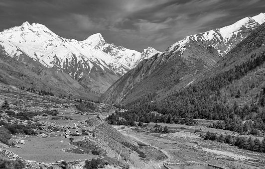 Landscape, India, Nature, Black And White, Grayscale
