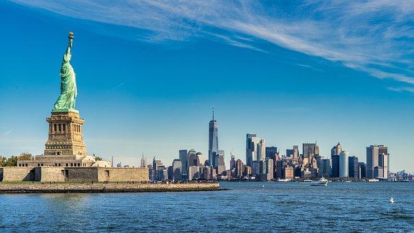New York, Statue, Monument, Usa, Manhattan, Freedom