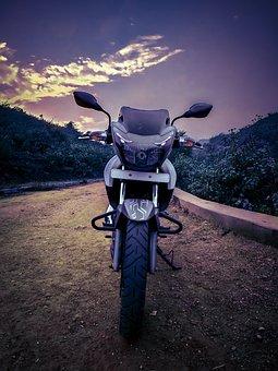 Bike, Forest, Mountain, Road, Sky