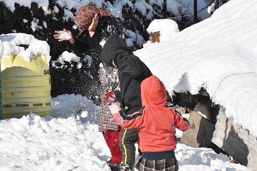 Ice, Snow, Village, Winter, Kids, People In Snow
