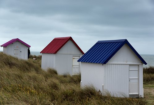 Cabins, Beach, Sea, Holiday, House, Colorful