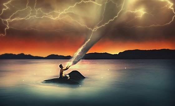 Sea, Rock, Storm Clouds, Flashes, Forward, Tornado