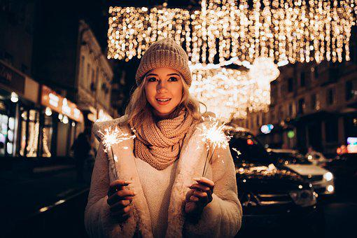 Woman, Sparklers, Winter Clothes, Winter Clothing