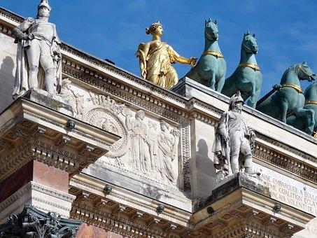 Paris, Carousel, Arc Triumph, Quadriga, Statues, Bronze