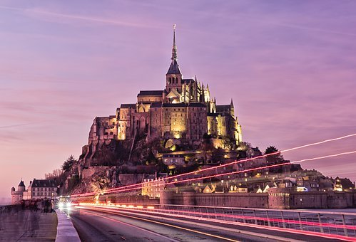 Mont Saint Michel, Mont-st-michel, France, Sunset