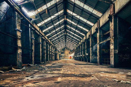 Factory, Hall, Symmetry, Stock, Industry, Building