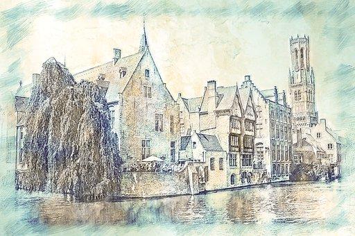 Belfry, Tower, Bruges, Canal