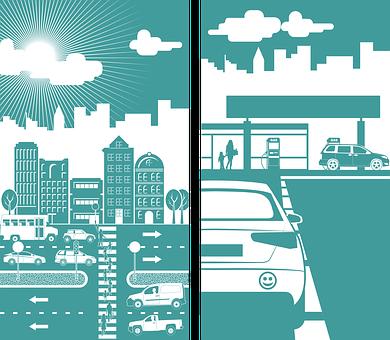 Cars, Building, City, Gas Station, Traffic, Street