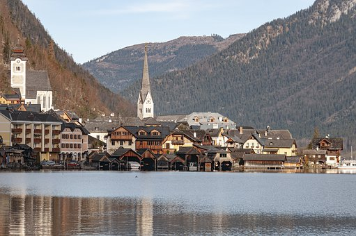Hallstatt, Austria, Lake, Church, Village, Alps