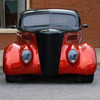 Car, Antique, Vintage, Auto, Red, Black, Automobile