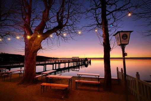 Port, Abendstimmung, Pier, Lanterns, Sunset, Afterglow