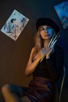 Artist, Figure, Canvas, Paint, Artists, Beret, Woman