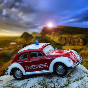 Vw Beetle, Fire, Nostalgia, Auto, Automotive, Beetle