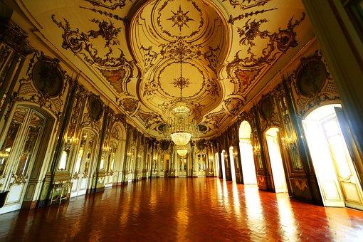 Portugal, Queluz, Palace, Architecture, Hall, Ballroom