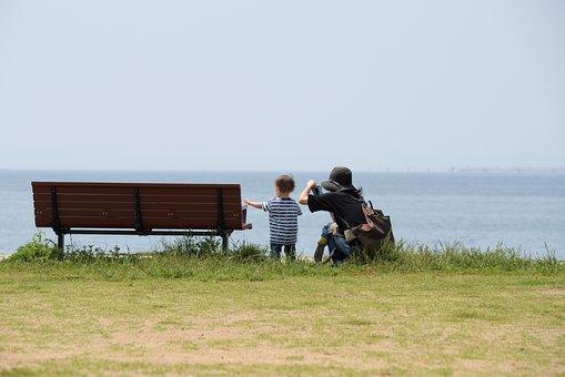 Parent Child, Sea, Coast, Chair, Beach, Kids