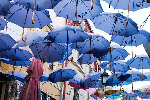 Umbrella, Blue Umbrellas, Blue, Rain, Decoration