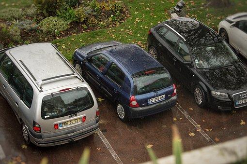 Car, Renault, Clio, Parking Lot, Car Park, Rain