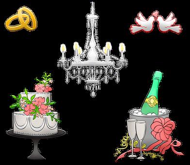 Wedding Cake, Wedding Ring, Champagne, Chandelier