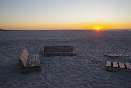 Beach, Benches, Water, Ocean, Ameland, Coast, Seascape
