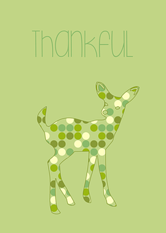 Thankful, Green, Bambi, Deer, Animal, Card, Dots