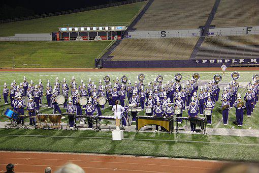 Marching Band, Field, Marching, Music, Grass, Horns