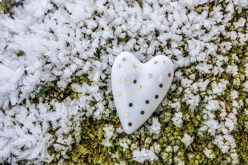Hoarfrost, Winter, Heart, White, Stone, Granite, Ice