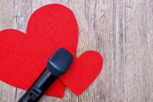 Microphone, Mic, Sing, Music, Talk, Audio, Sound, Heart