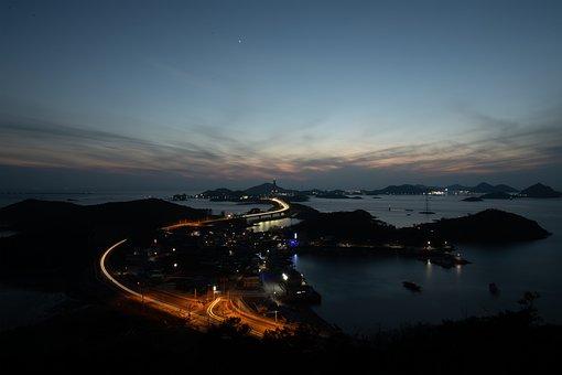 Night View, Island, Seonyudo, In The Evening, Landscape