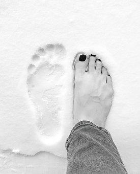 Feet, Alone, Black, Toes, Winter, Snow, Jean, Cute