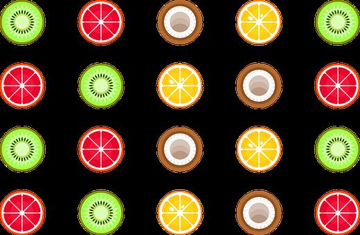 Kiwi, Grapefruit, Coconut, Orange