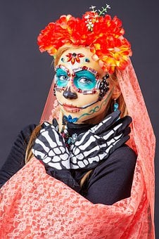 Makeup, Girl, Body Painting, Skull, Katrina Calavera