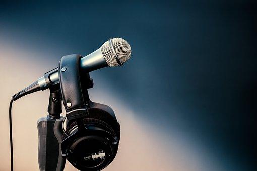 Microphone, Mic, Headphones, Stage, Sing
