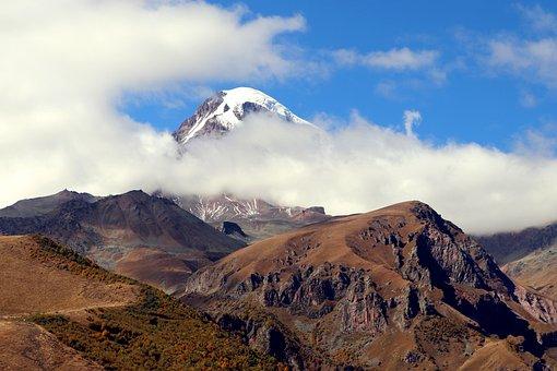 Georgia, Mountain, Mountains, Kazbek, Top, Sky, Clouds