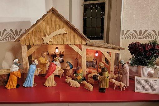 Nativity Scene, Church, Deutscheinsiedel, Crib, Jesus
