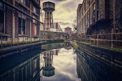 Factory, Old, Mirroring, Water Tower, Pforphoto, Past