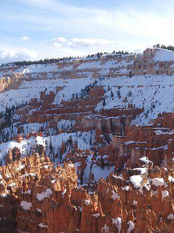 Bryce Canyon, Utah, Park, Snow, Winter, Red Rock, Red