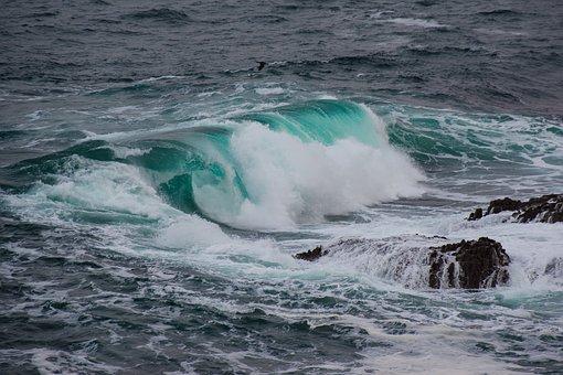 Wave, Green, Sea, Spray, Light, Water, Ocean, Wind