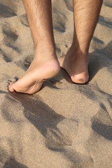 Foot, Sand, Beach, Barefoot, Footprint, Sea, Pedicure