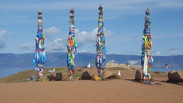 Pillars, Shamans, Gulls, Sun, Baikal, Rock, Shaman