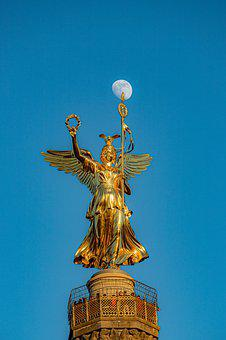 Berlin, Siegessäule, Victorian, Moon, Full Moon, Angel