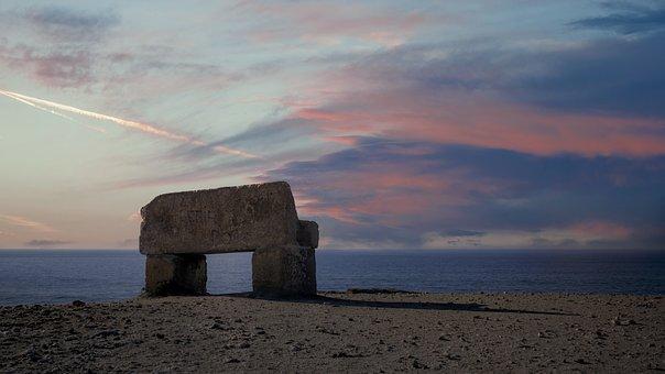 Stone, Bench, Sky, Sunset, Ocean, Cliffs, Sea