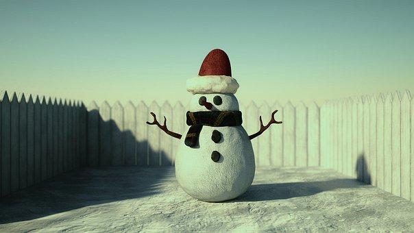 Snow, Snowman, Winter, Sun, Fence, Santa Hat, Christmas